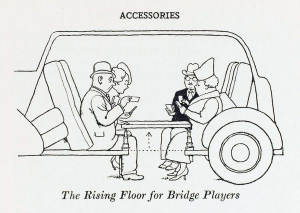 A rising floor in the cars cabin which seconds as a Bridge table can allow those who are keen on both card games and motoring to engage in both pastimes simultaneously. Please note: Credit must appear as (c) Courtesy of the estate of Mrs J.C