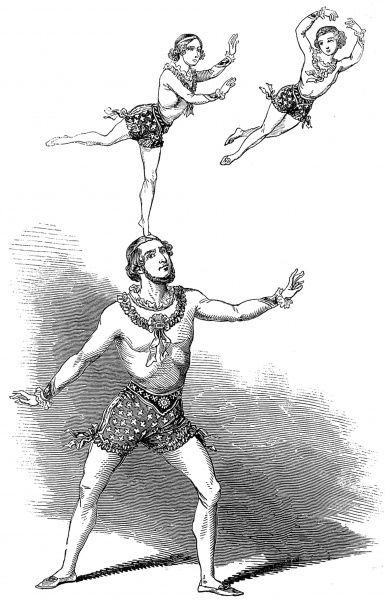Engraving showing Richard Risley Carlisle (1814-1874),who went by the stage-name 'Professor Risley', performing acrobatics with his two sons at the Drury Lane Theatre, London, 1846