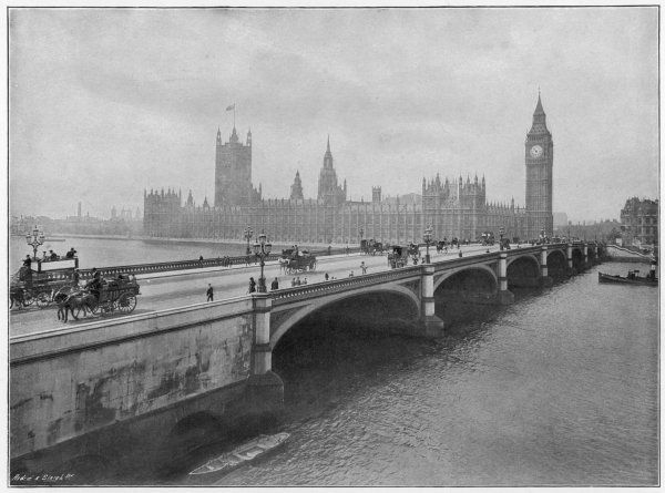 View showing the river- frontage of the Parliament houses at Westminster