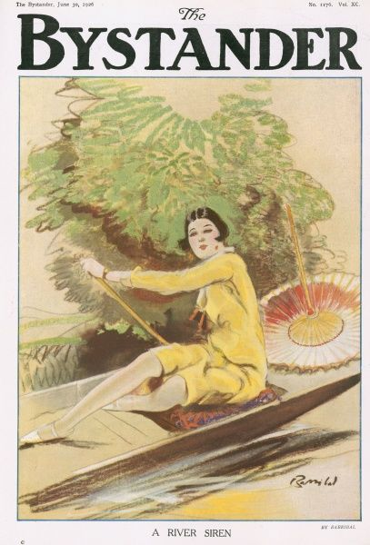 A colour illustration of aa attractive lady rowing a boat