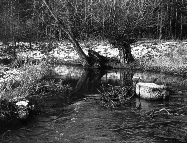 Winter view of the River Whitewater at Walesby, Nottinghamshire, England. Date: 1950s
