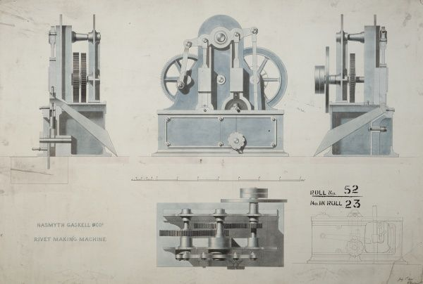 Rivet making machine, plan, front and side elevations and section Date: 1848