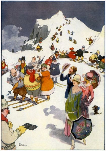 Illustration by William Heath Robinson showing skiiers intrigued by the appearance of glamorous Howard. K. Elcock characters. Please note: Credit must appear as (c) Courtesy of the estate of Mrs J.C.Robinson/Pollinger Ltd/Mary Evans Picture Library
