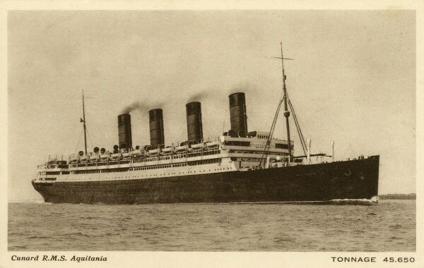 RMS Aquitania - Cunard Ocean Liner - 45,650 tonnes. Launched on 21st April 1913 and retired and scrapped in 1950 in Scotland, steaming over 3 million miles in the process of a long and illustrious career. Date: circa 1913