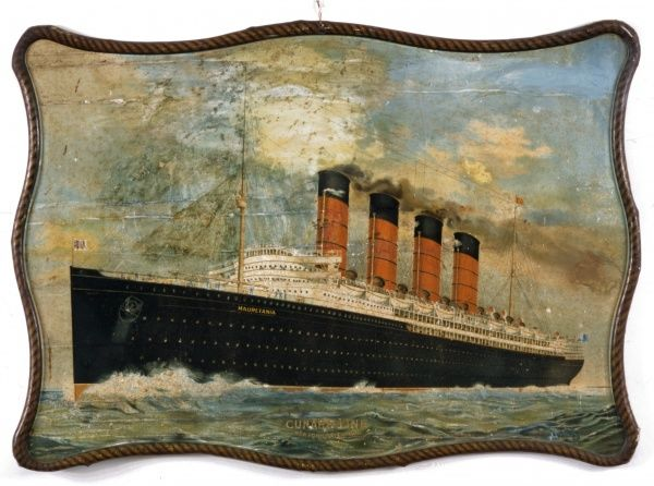 RMS Mauretania with its distinctive four red funnels, a steam ship belonging to the Cunard Line, built in 1906