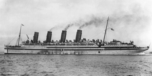 The RMS Mauretania, a Cunard ocean liner which was used as a hospital ship during the First World War. Launched in 1906, retired from service 1934. Date: 1914-1918