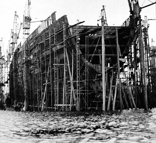 Photograph of the R.M.S. 'Queen Mary' at the John Brown shipyard, December 1931. Work on the ship, then known as Cunard No. 534, had been suspended on 13th December as Cunard had run out of funds. The project was only revived in 1934