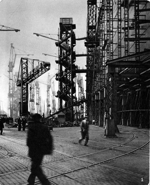 Photograph of 'Queen Mary', then known as '534', under construction at John Brown's shipyard, Clydebank. Work on the massive liner had been halted between 1931 and 1934 due to lack of funds, but the merger of Cunard and White Star Line