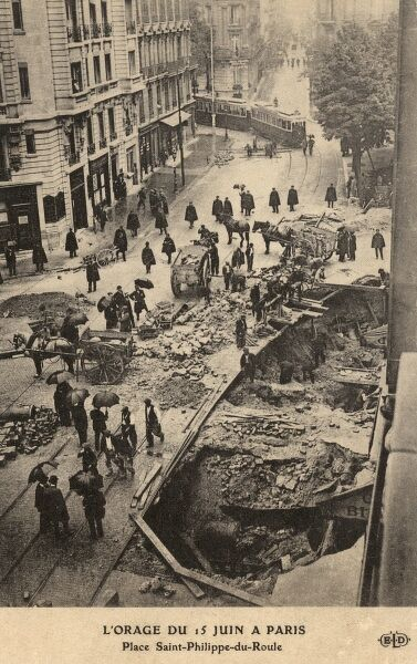 A collapse at Place Saint Philippe du Roule in Paris on 15th June 1910 as a direct result of prior damage caused during the severe flood which hit the capital in January of the same year. Date: 1910