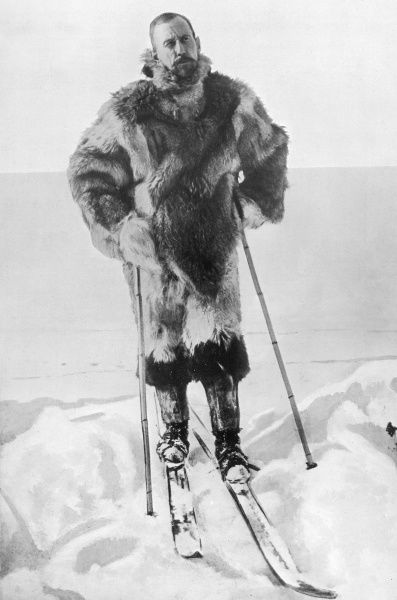 Photograph of Captain Roald Engelbreth Gravning Amundsen, the Norwegian explorer, in his cold weather clothing and skis, Antarctica, 1912. Amundsen led the first expeditions to navigate the Northwest Passage and reach the South Pole