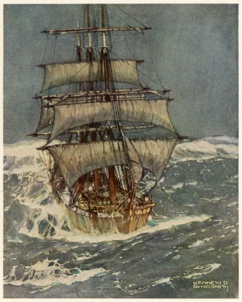 THE ROARING FORTIES A three-master confronts the stormy seas south of the Cape of Good Hope - 'here a vessel always meets the worst conditions of weather&#39