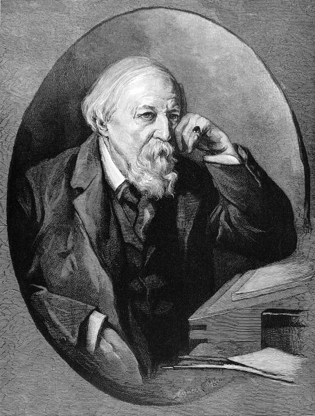 Engraved portrait of Robert Browning (1812-1889), the English poet and playwright, pictured in 1887