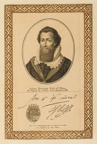 ROBERT DEVEREUX earl of ESSEX statesman, favourite of Elizabeth, whose ambitions and recklessness led to his rebellion and beheading with his autograph
