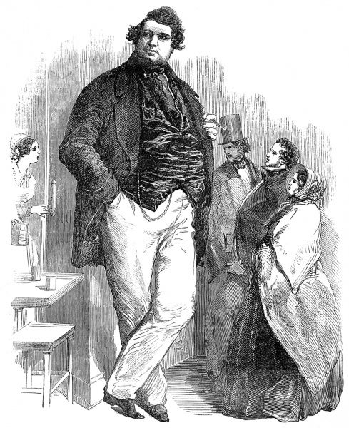 Engraving showing Robert Hales (1813 or 1820-1863), also known as the 'Norfolk Giant', who was reportedly seven foot six inches tall and weighed 33st, pictured in London, 1851