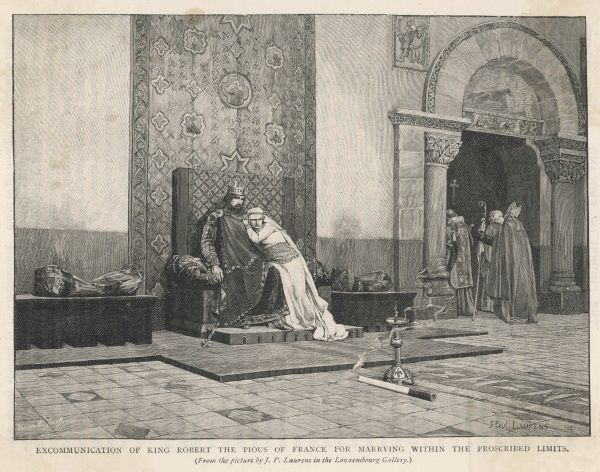 Robert II repudiates Rosala de Provence and marries cousin Berthe de Bourgogne, but pope Gregorius V excommunicates him, so he leaves her and weds Constance d'Arles