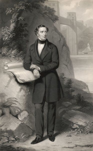 ROBERT STEPHENSON Engineer and designer of the Menai Bridge Depicted leaning against a rock with the bridge in the background