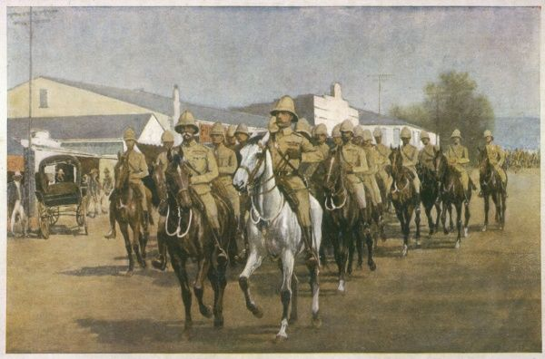 Lord Roberts enters Pretoria triumphantly after the Boer capital's surrender. After Mafeking's earlier relief, many thought the war over but it dragged on two years longer