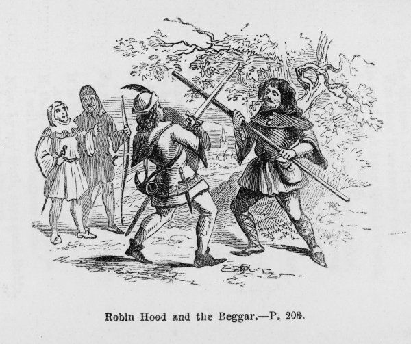 Robin and the Beggar fight with quarter-staffs