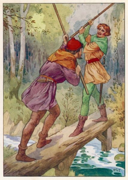Robin Hood and Little John enjoy a mock fight on a small bridge over a river