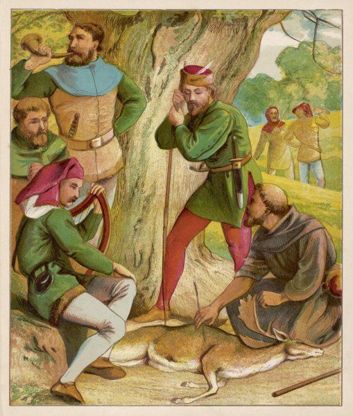 Robin & his Merry Men hunting in Sherwood forest