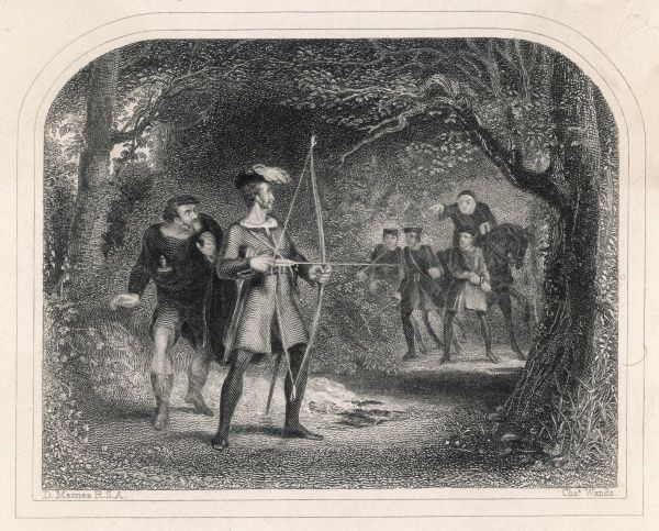 The Sheriff of Nottingham orders his men to seize Robin Hood, but Robin is prepared to defend his liberty