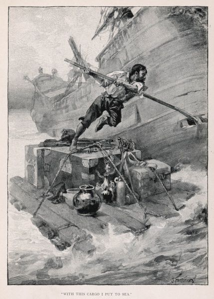'With this cargo I put to sea' Crusoe abandons the sinking wreck with as much equipment as his raft can hold