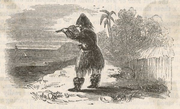 Robinson Crusoe spies a ship on the horizon