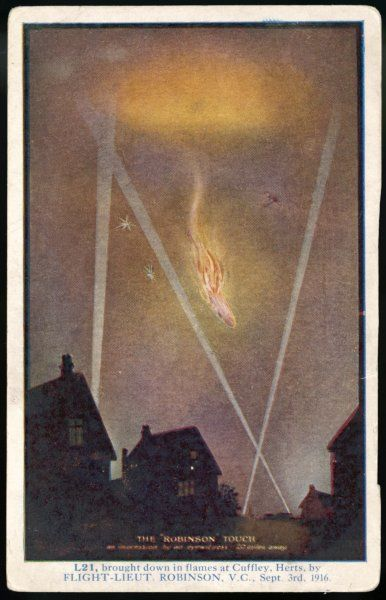 Zeppelin L21 falls from the sky after being attacked by Lieutenant Robinson; this image was based on an account by an eyewitness 20 miles away