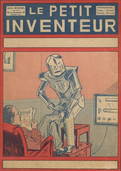 The servant of the future -- a robotic servant polishes a man's shoes while he sits reading in his armchair