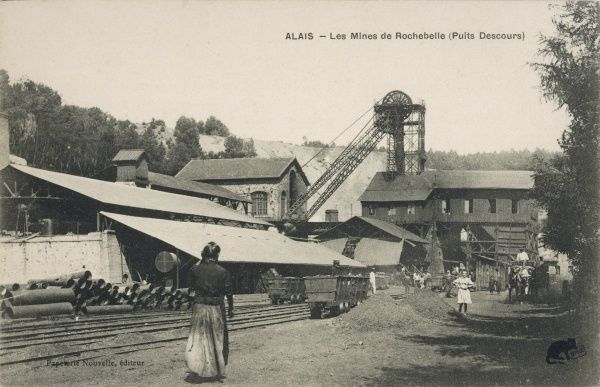 The Desccours shaft and buildings at the Rochebelle mines, Alais, France