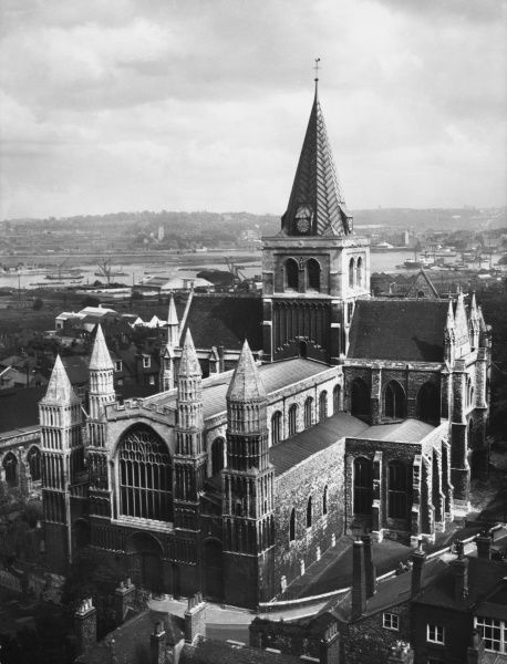 Rochester Cathedral, Kent, many parts (the Nave, Crypt, etc.) are Norman, with Gothic additions dating from the 12th century. Also restored in the 19th century by Gilbert Scott