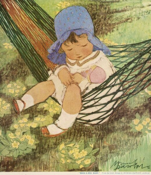 A little girl in a charming sun hat, sits in a hammock and rocks her doll to sleep