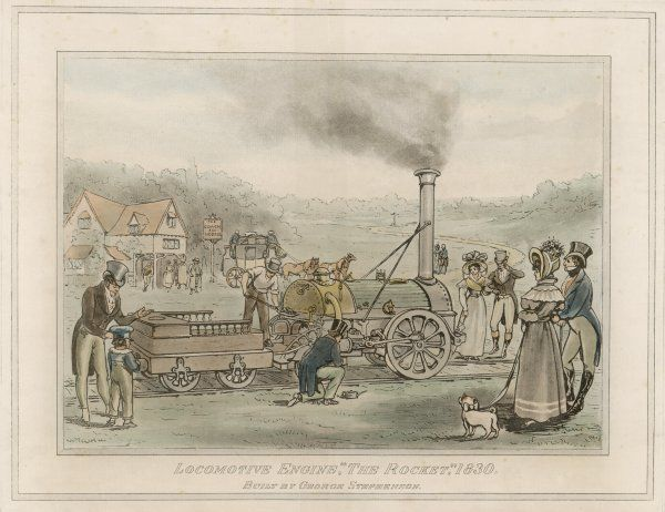 "George Stephenson's ""Rocket"" being admired by the majority of onlookers, with the exception of the staff of the ""Coach and Horses&quot"