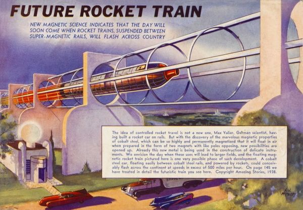 A rocket-powered train predicted