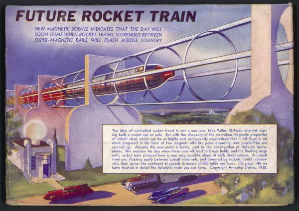 This is German inventor Max Valier's magnetic rail car project of 1932, but given a face-lift by the American publisher. It sounds great in principle, but