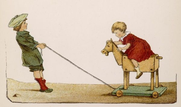 Small girl being pulled along by a boy on her wooden horse on wheels