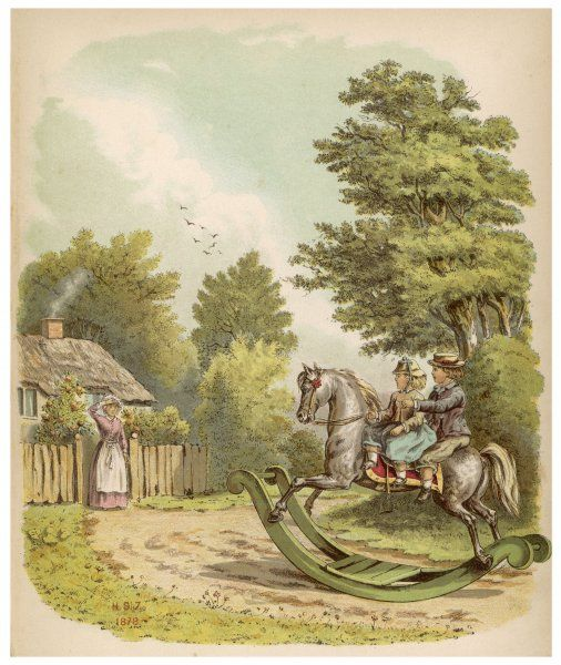 Two children ride through the countryside on their rocking horse... to the surprise of a cottage woman Date: 1880