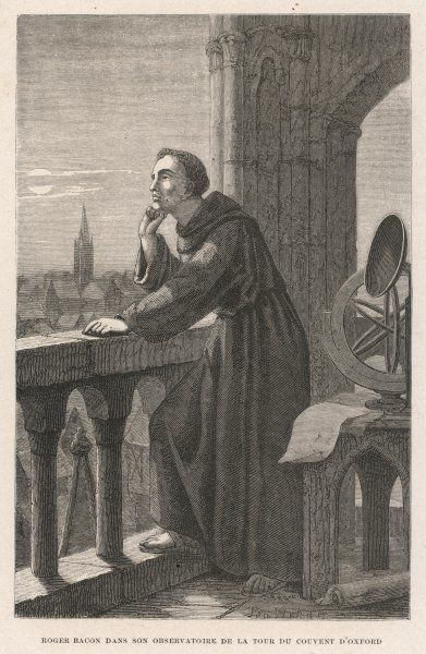 ROGER BACON Scientist and scholar looking across the rooftops of Oxford from his monastic observatory