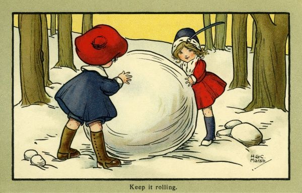 Keep it rolling -- two children with a large snowball, probably intending to build a snowman