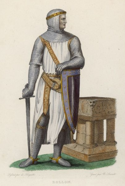 Rollon, invading Norseman who by treaty became duc de Normandie ; depicted wearing a full suit of mail