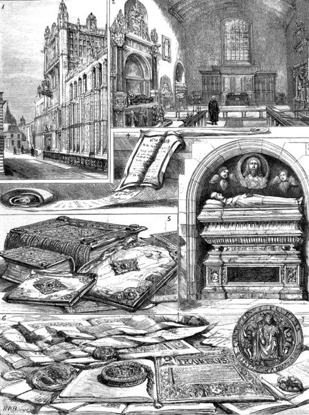 Engraving showing a number of views of the Rolls' House and the Public Record Office, London, 1882