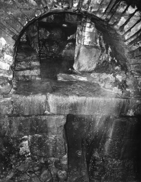 Roman plumbing and architecture beneath the Roman Baths at Bath, Somerset, England. Date: 1960s