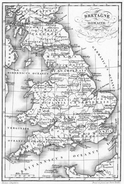 A map depicting the network of Roman settlements in Britain. Date