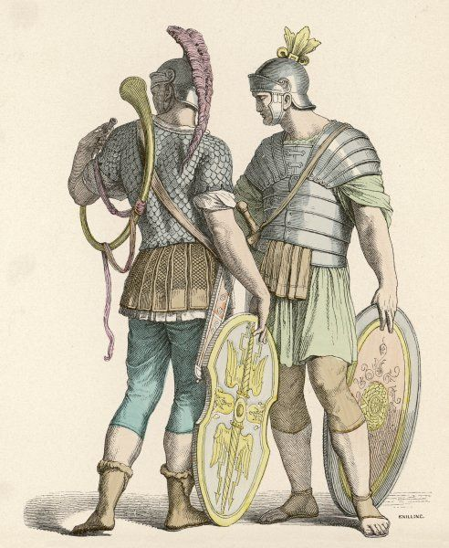 TWO FOOT SOLDIERS with ornamented helmets and shields, one with a curved horn
