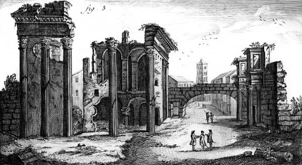 The Roman FORUM seen in the 18th century. Date: Circa 1760
