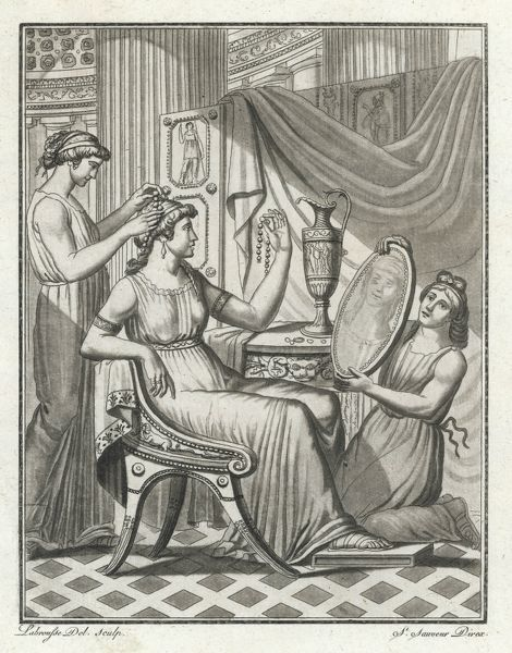 A Roman lady has her hair done