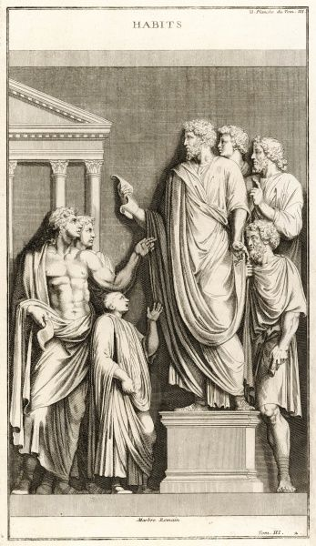 A Roman orator stands speaking in the forum, supported by some but heckled by others