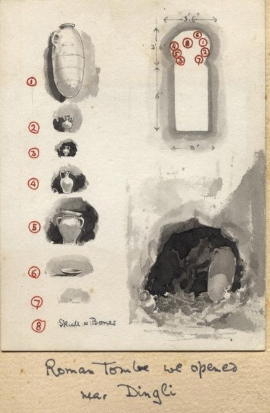 Diagram and plan of a Roman tomb opened by Lord Baden-Powell near Dingli, Malta