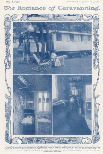 Scenes within Baron de Sennevoy's caravan, 'a veritable palace on wheels'. The baron had just returned from a three month journey in Normandy covering over 700 miles