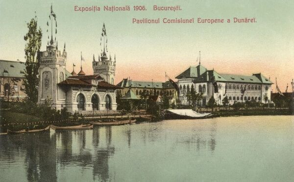 Romania - National Exhibition of 1906 - Bucharest - Commissions and European Pavilions and the River Danube Date: 1906